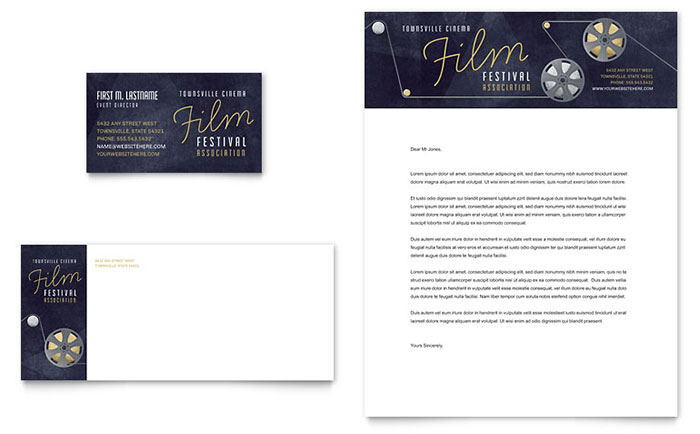 film festival business card letterhead template design