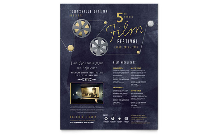 festival brochure design - film festival flyer template design