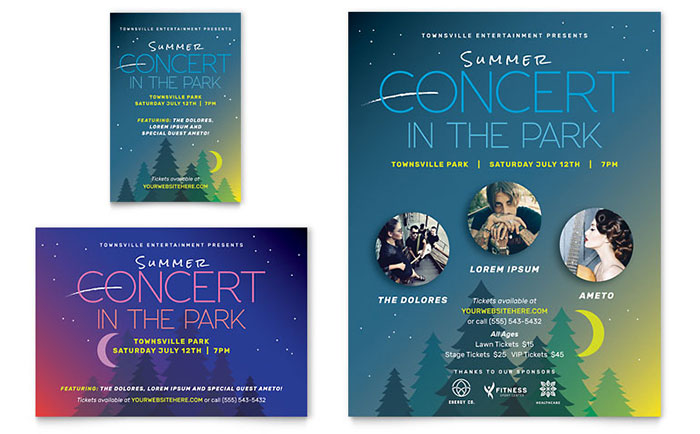 Summer Concert Flyer & Ad Template Design Download - InDesign, Illustrator, Word, Publisher, Pages