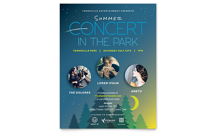 Summer Concert Flyer Template Design - Christmas flyer templates microsoft publisher
