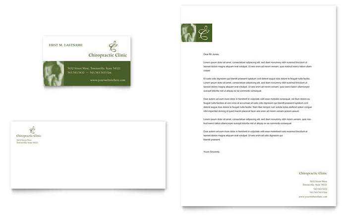 Chiropractor Business Card & Letterhead Template Design - InDesign, Illustrator, Word, Publisher, Pages
