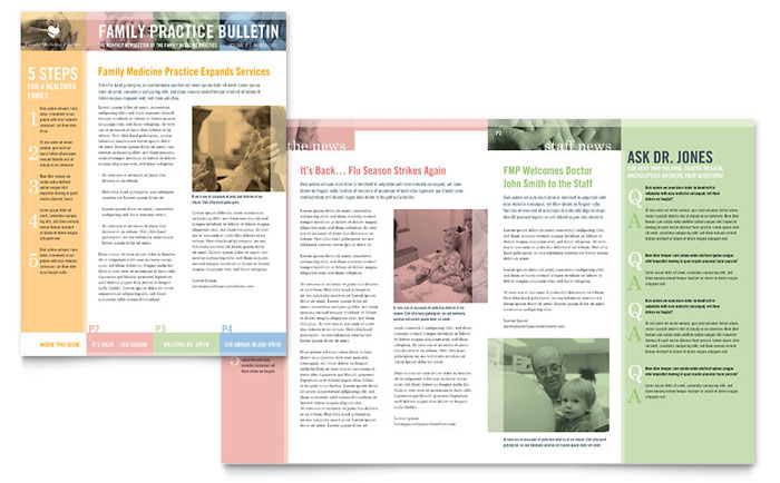 family doctor newsletter template design