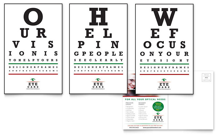 optometrist  u0026 optician postcard template design