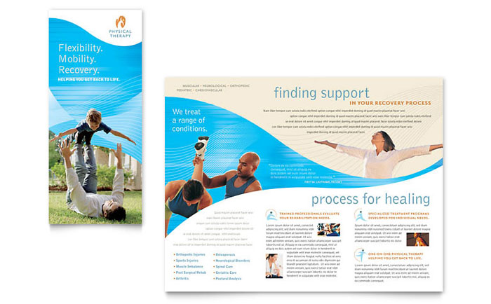 Physical therapist brochure template design for Counseling brochure templates free