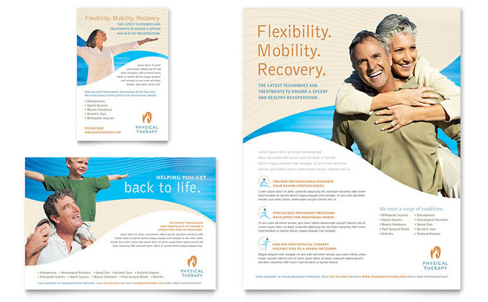 Physical Therapist Brochure Template Design - Free medical brochure templates