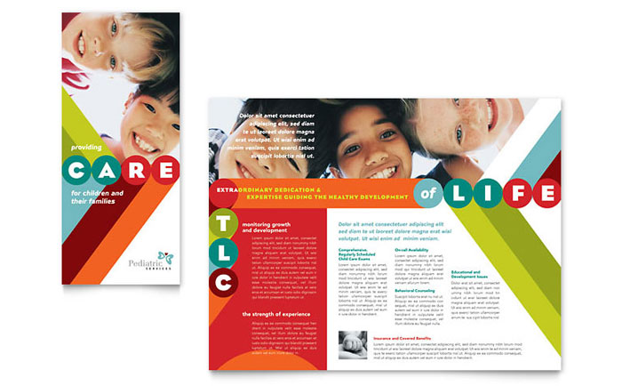 Pediatrician child care brochure template design for Preschool brochure template