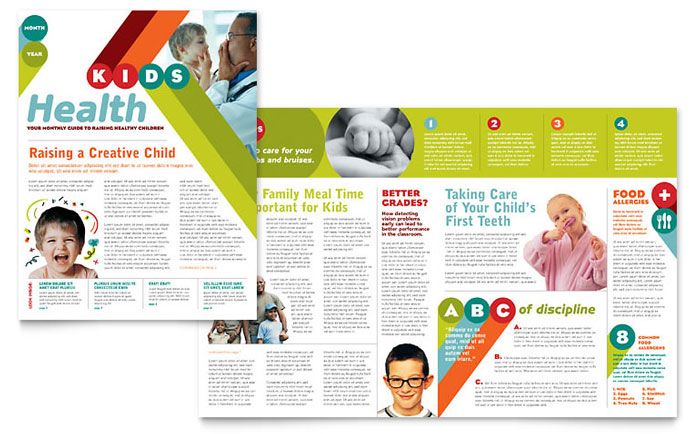 Pediatrician & Child Care Newsletter Template Design Download - InDesign, Illustrator, Word, Publisher, Pages