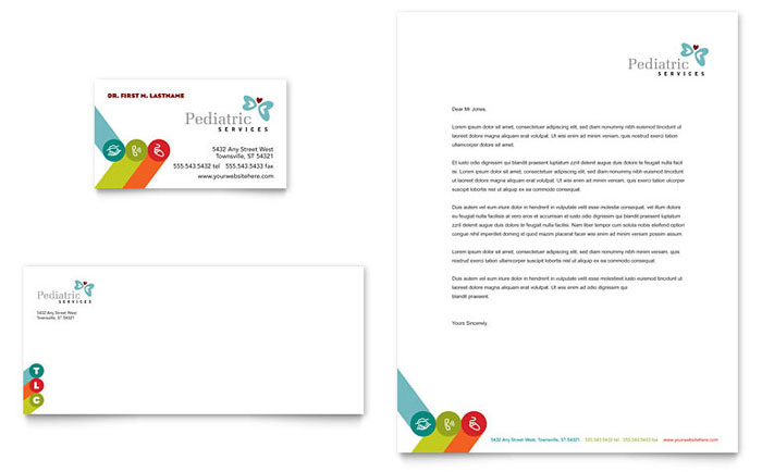 Pediatrician Child Care Business Card Letterhead Template Design