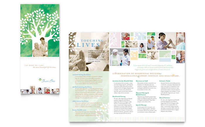 Elder care nursing home brochure template design for Home care brochure template