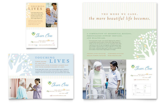 Elder care nursing home flyer ad template design for Home care brochure template