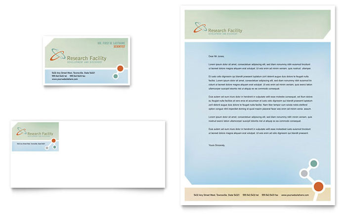 Medical Research Business Card & Letterhead Template Design Download - InDesign, Illustrator, Word, Publisher, Pages