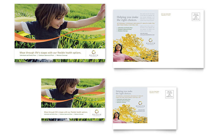 Health Insurance Company Postcard Template Design Download - InDesign, Illustrator, Word, Publisher, Pages