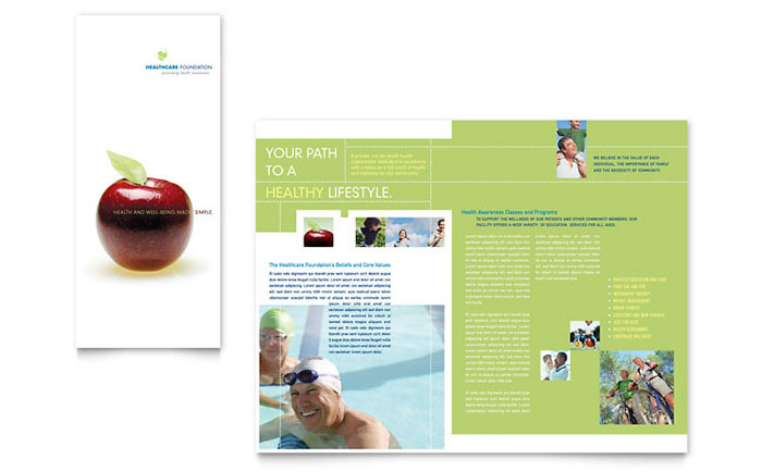 Healthcare management tri fold brochure template design for Health pamphlet template