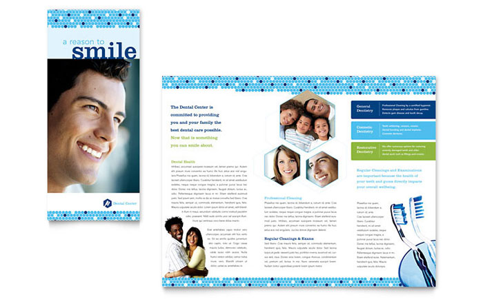 Dentistry dental office brochure template design for Ms office brochure templates