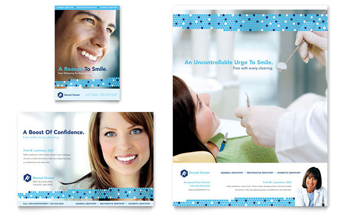 Dentistry & Dental Office Flyer & Ad Template Design Download - InDesign, Illustrator, Word, Publisher, Pages
