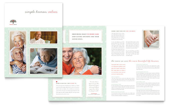 Senior care services brochure template design for Home care brochure template