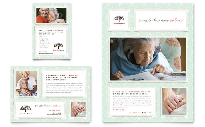 Senior care services flyer ad template design for Home care brochure template