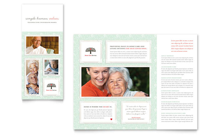 Senior care services tri fold brochure template design for Home care brochure template
