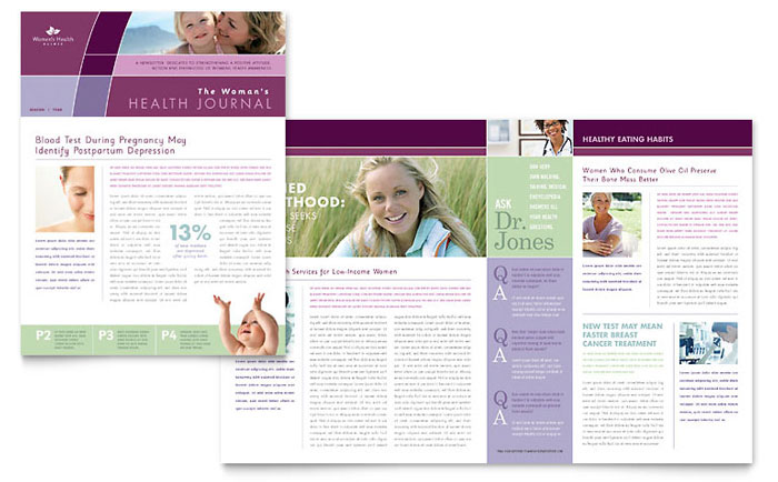 Women 39 s health clinic newsletter template design for Health and wellness newsletter template