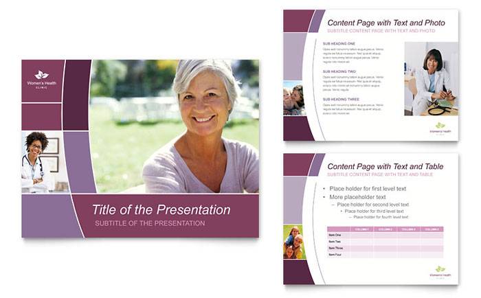women s health clinic powerpoint presentation template design