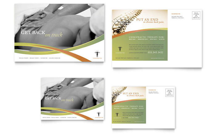 Massage Chiropractic Postcard Template Design - Chiropractic brochures template