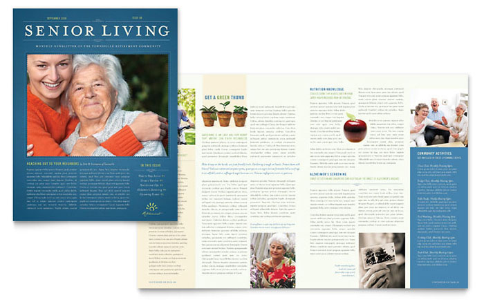 Senior Living Community Newsletter Template Design