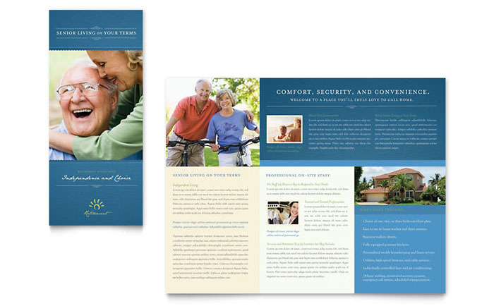 Senior Living Community Tri Fold Brochure Template Design Download - InDesign, Illustrator, Word, Publisher, Pages