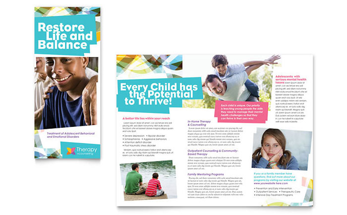 health pamphlet template - adolescent counseling tri fold brochure template design