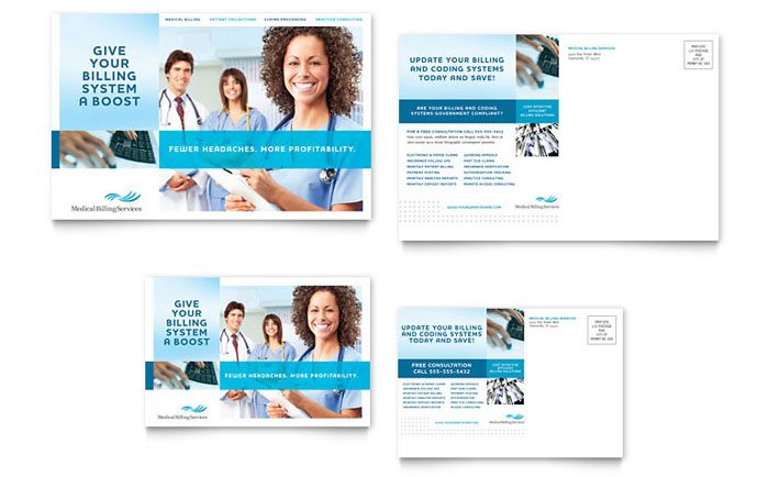 medical billing  u0026 coding postcard template design