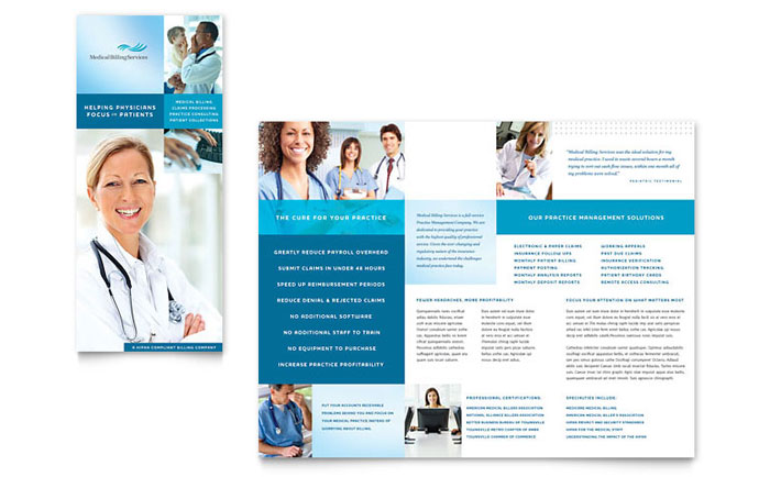 Medical billing coding tri fold brochure template design for Free medical brochure templates
