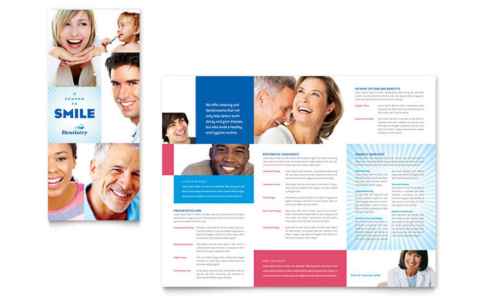 Family Dentistry Tri Fold Brochure Template Design - Dental brochure template