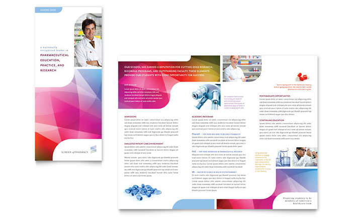 Pharmacy school tri fold brochure template design for College brochure design pdf