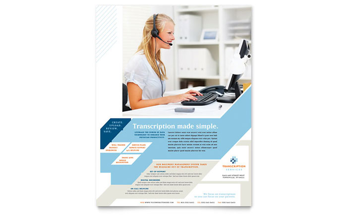 Medical Transcription Flyer Template Design Download - InDesign, Illustrator, Word, Publisher, Pages