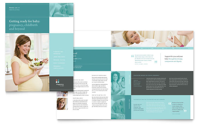 Pregnancy clinic brochure template design for Medical office brochure templates