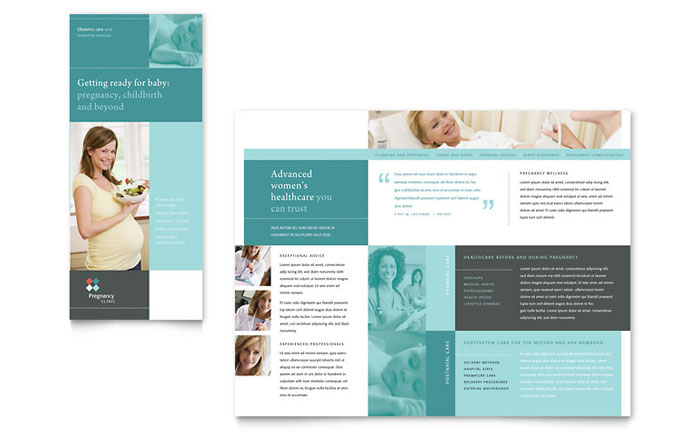 health pamphlet template - pregnancy clinic tri fold brochure template design