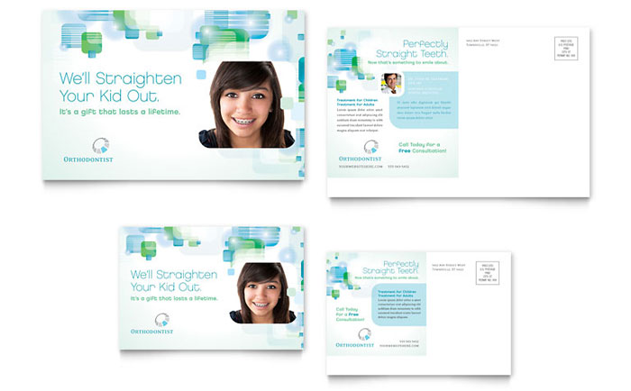 Orthodontist Postcard Template Design Download - InDesign, Illustrator, Word, Publisher, Pages