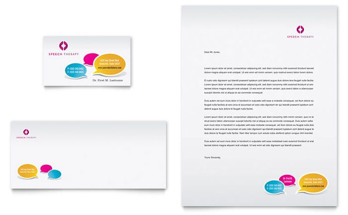 Speech Therapy Education Business Card & Letterhead Template Design - InDesign, Illustrator, Word, Publisher, Pages