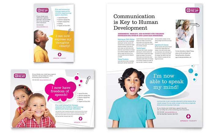 Speech Therapy Education Flyer  Ad Template Design