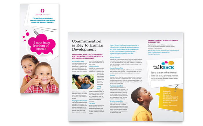 Speech therapy education tri fold brochure template design for Tri fold school brochure template