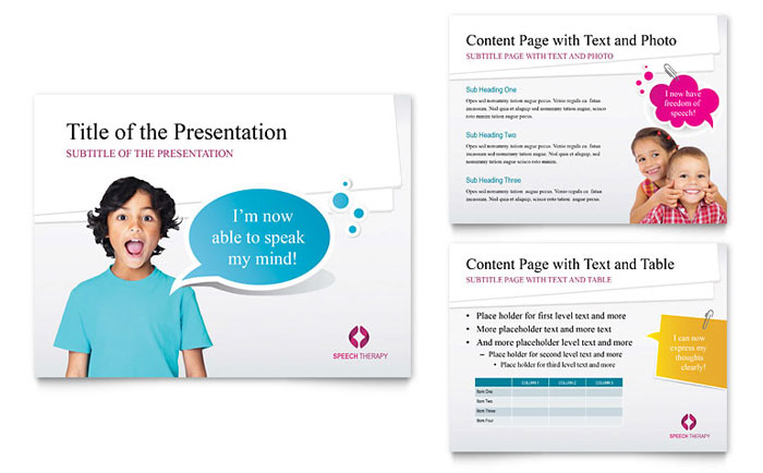 Speech Therapy Education Powerpoint Presentation Template Design
