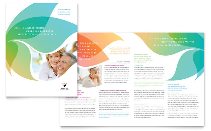 Marriage counseling brochure template design for Health pamphlet template