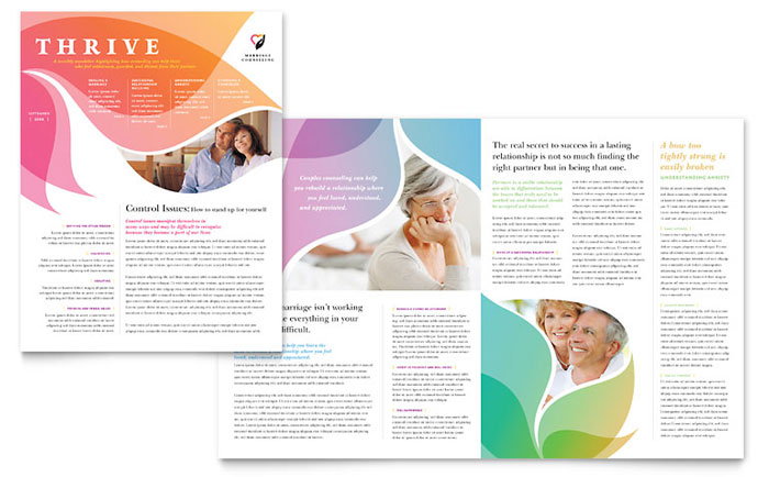 Marriage counseling newsletter template design for College brochure templates free download