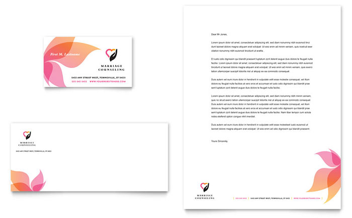 Marriage counseling business card letterhead template design reheart