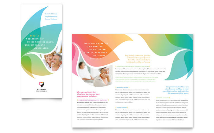 Marriage counseling tri fold brochure template design for Free blank tri fold brochure templates for microsoft word