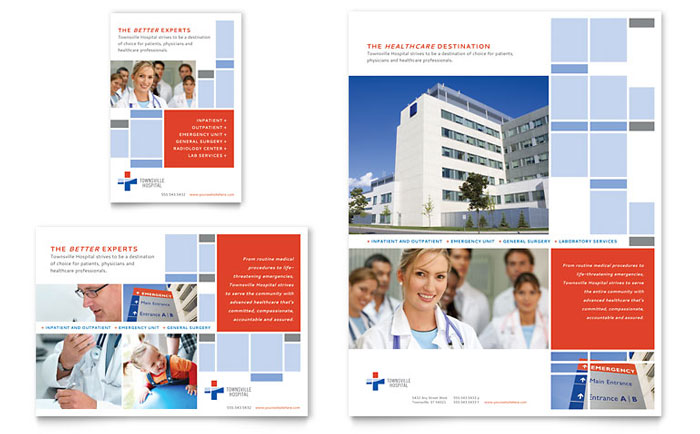 Hospital flyer ad template design for Hospital menu template
