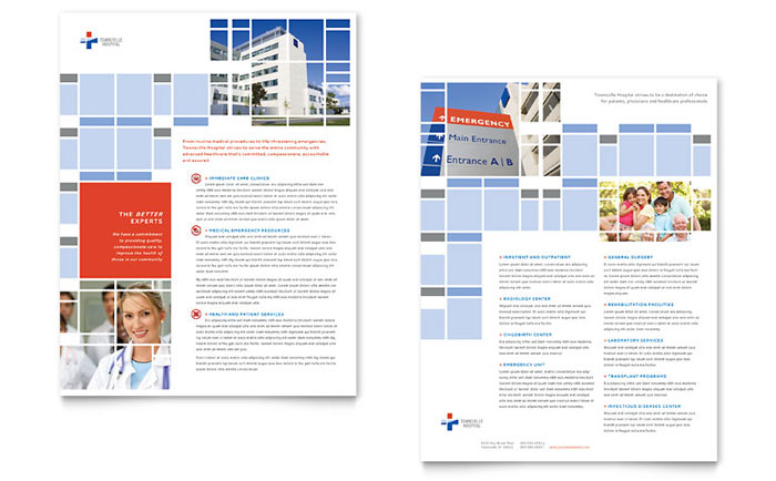 Hospital Datasheet Template Design Download - InDesign, Illustrator, Word, Publisher, Pages