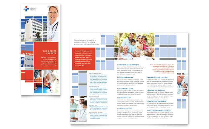 Hospital Tri Fold Brochure Template Design – Hospital Flyer Template