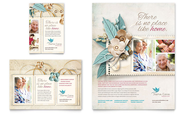 Hospice & Home Care Flyer & Ad Template Design Download - InDesign, Illustrator, Word, Publisher, Pages