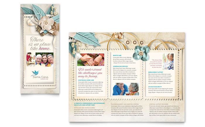Hospice home care tri fold brochure template design for Free flyer templates publisher