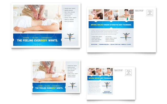 Reflexology u0026 Massage Postcard Template Design